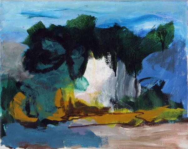 Landskab i lag. Maleri Kunst